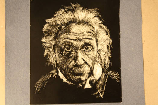 Einstein, scratchboard