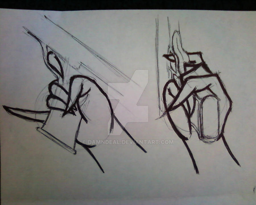 Line Drawing Holding Hands : Hand holding a gun by damndeal on deviantart