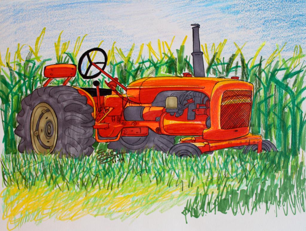 Orange tractor by Musaudi