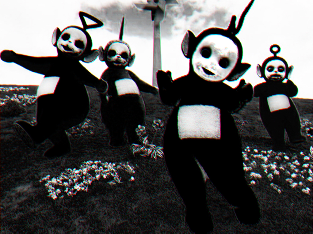 Creepy Teletubbies Images Reverse Search - Teletubbies in black and white is terrifying