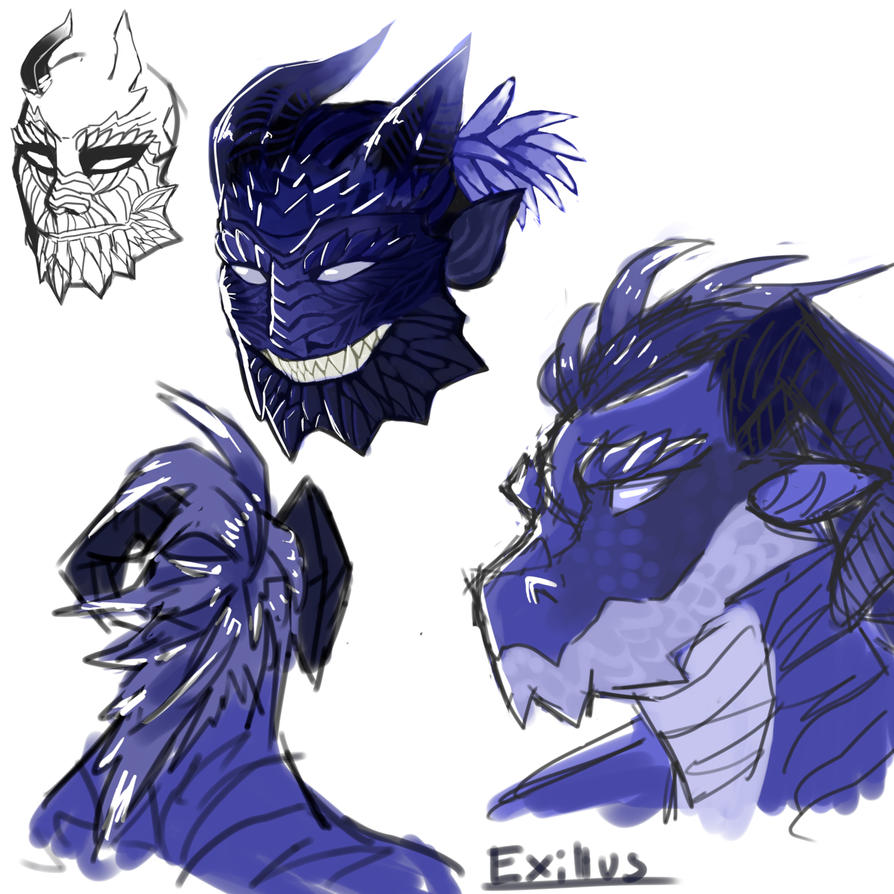 Dragonborn practice and sketching by Exillus