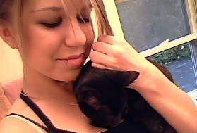 Me and my kitten,Blackie by xxBrittnayHedgiexx