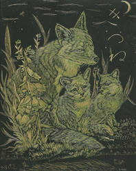 Foxes in Gold Scratching Paper by crimsonashtree