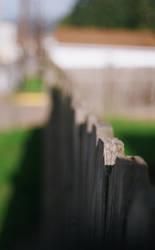 Wood grain fence.