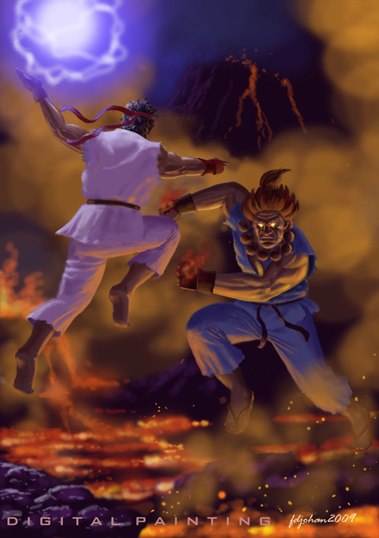 Ryu Vs Akuma By Fdjohan19 On Deviantart