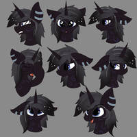 [Comm]Nightfire - Expression Sheets. by LunarFroxy