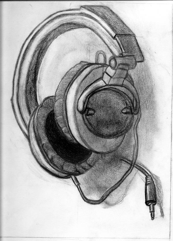 Line Art Headphones : Studio headphones drawing