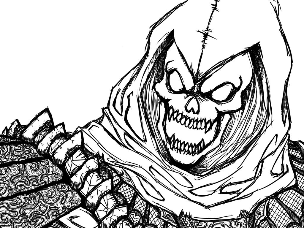 Skeletor line art by taskmaster08