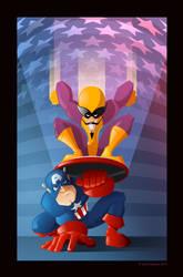 Batroc the leaper and Cap by davidjwalters