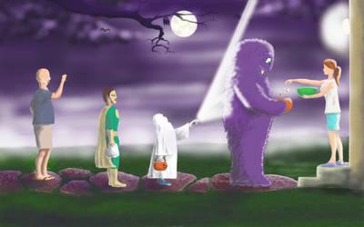 Monster on Halloween watermark