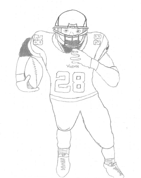 Adrian Peterson Drawing by Arianoka