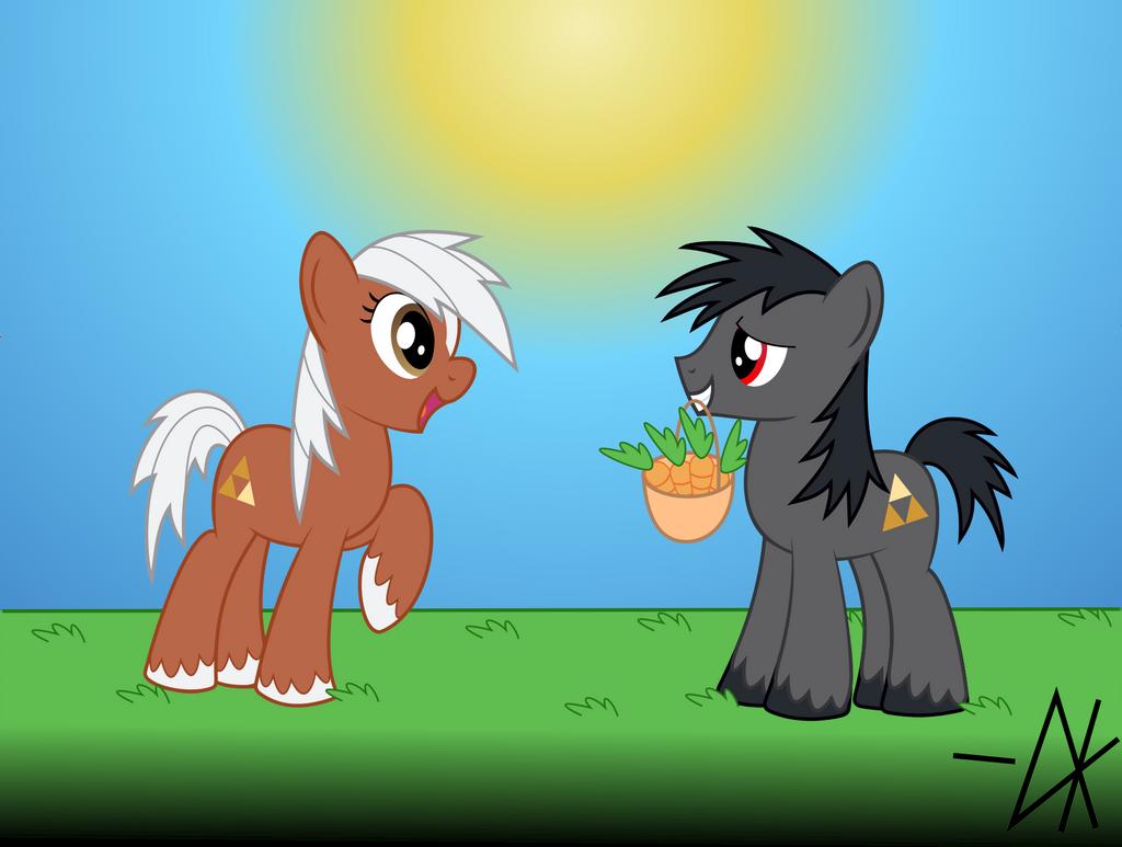 Epona and Ganondorf's horse by Dalekolt