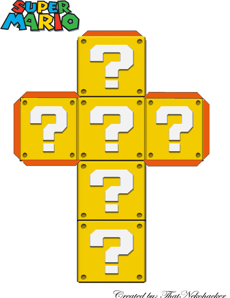 Mario question block paper craft template by thatnekohacker on mario question block paper craft template by thatnekohacker pronofoot35fo Image collections