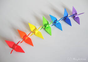 Origami: Rainbow Cranes 1