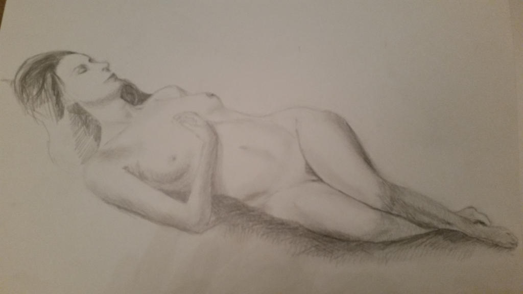 Model Portrait from reali life - graphite on paper by EugeneTheCounter