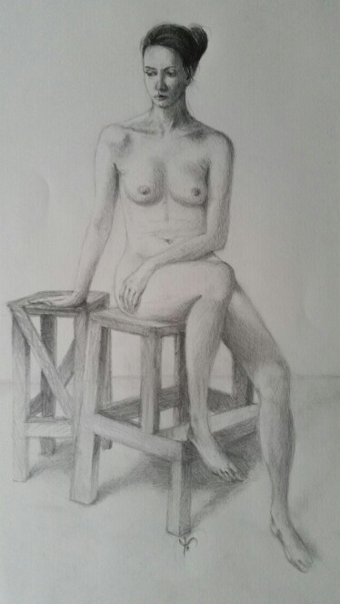 Nude from real life - graphite on paper by EugeneTheCounter