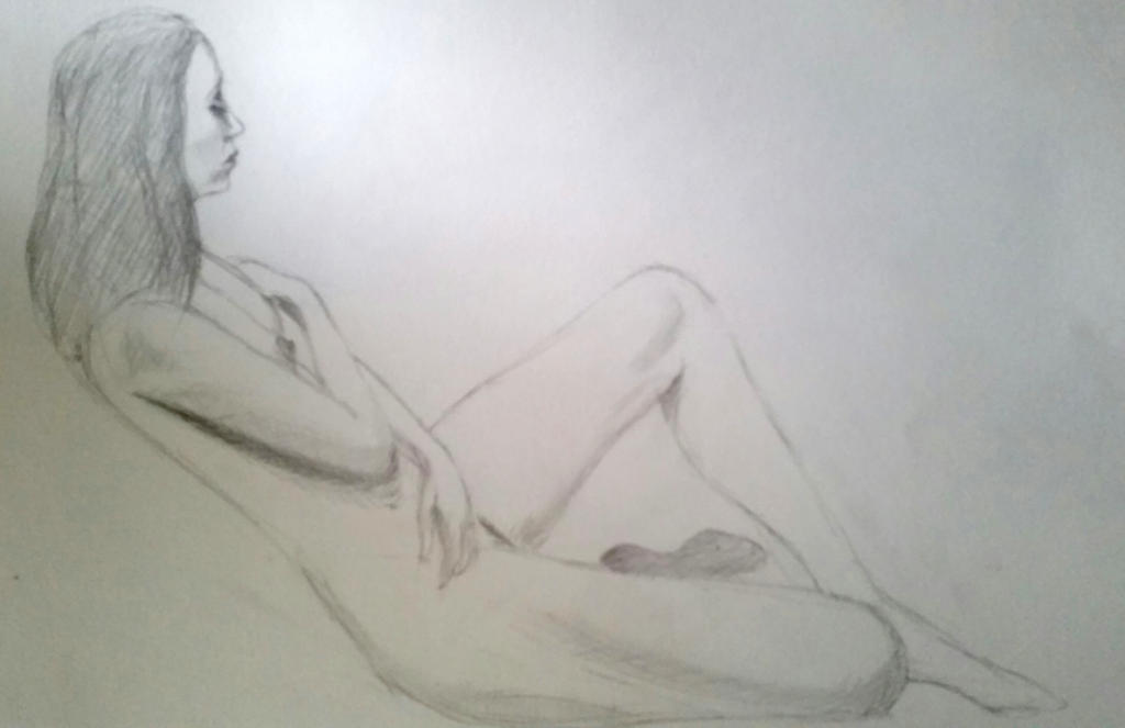 Nude from life - graphite - quick sketch by EugeneTheCounter