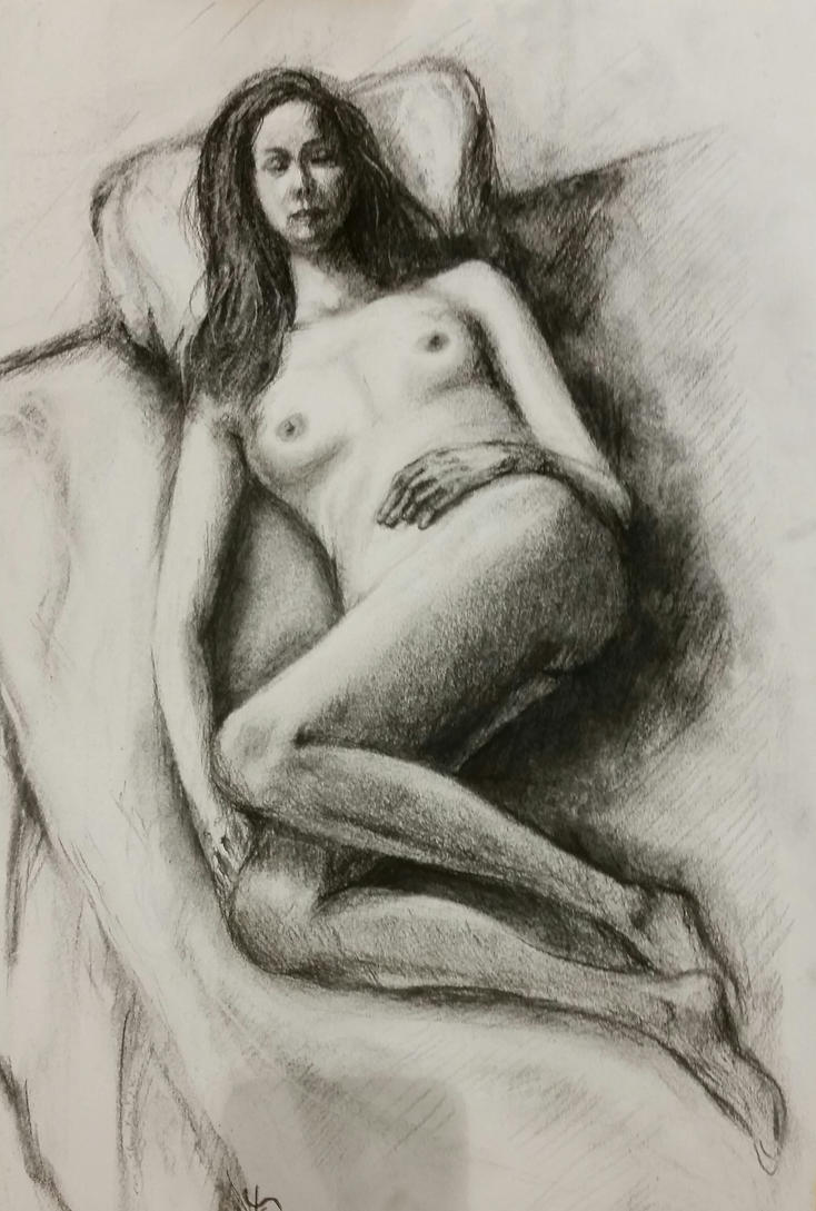 Sweet Thoughts - from life - charcoal on paper by EugeneTheCounter