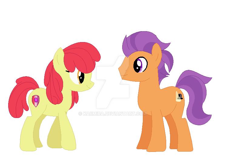 Applebloom and Tender taps by Kaiimira