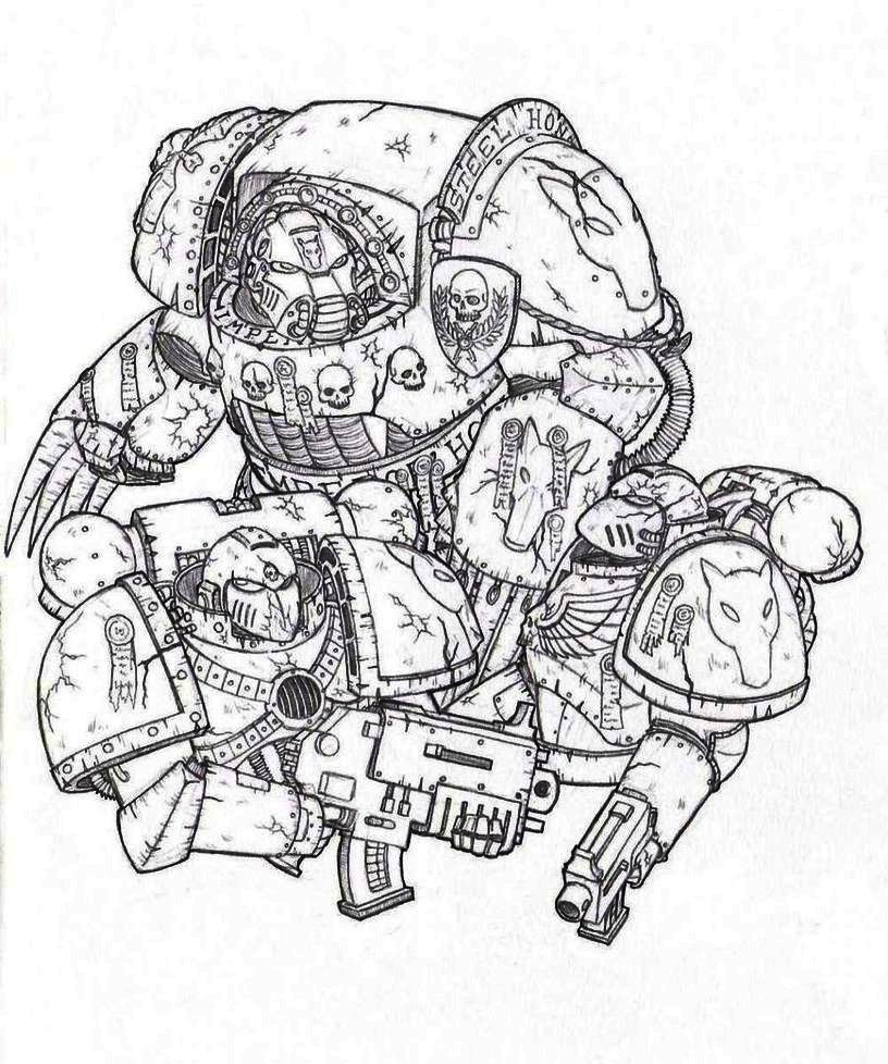 Space Marine Terminator Coloring Coloring Pages