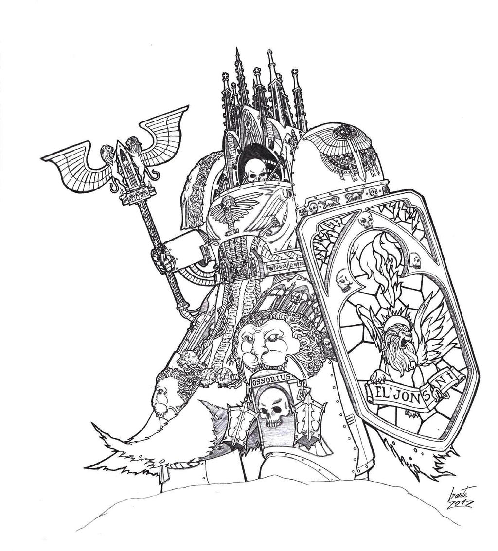 Ossorius the sanctum dark angels reclusiarch by greyall for Dark angel coloring pages