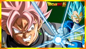 (Wallpaper) Vegeta SSJ Blue VS Black Goku SSJ Rose