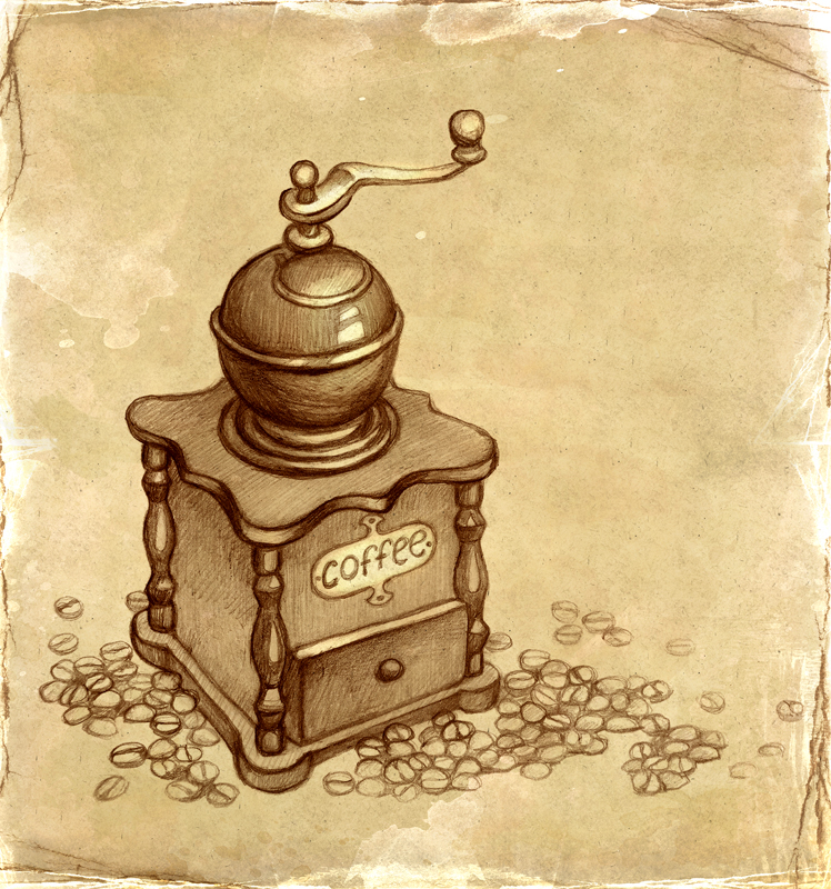 Coffee Grinder Drawling ~ Sketch of coffee grinder by sundra art on deviantart