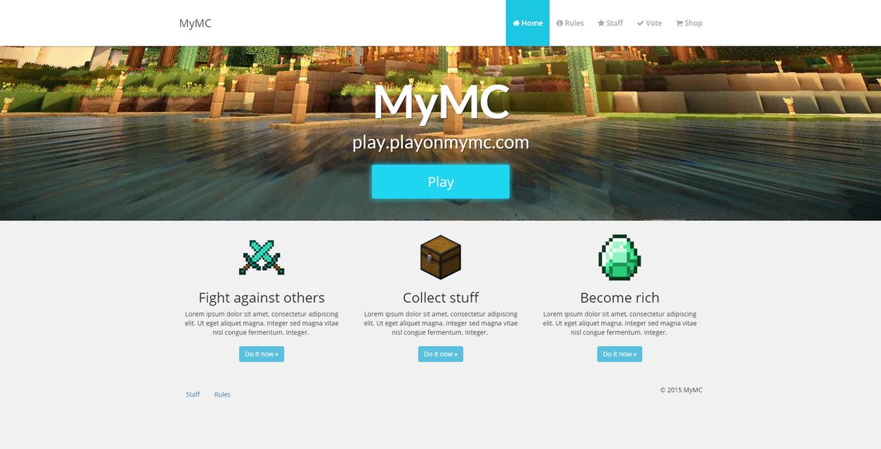 MyMC - Free Minecraft Website template by rodymol123 on DeviantArt