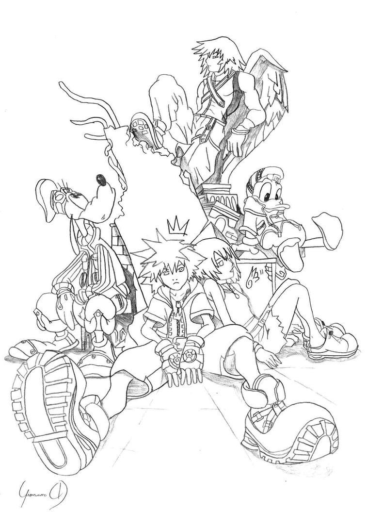 Kingdom Hearts Lineart : Kingdom hearts characters by soracutekh on deviantart