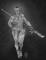 Sivari Tribal Huntress Pin-up by DeltaSixE