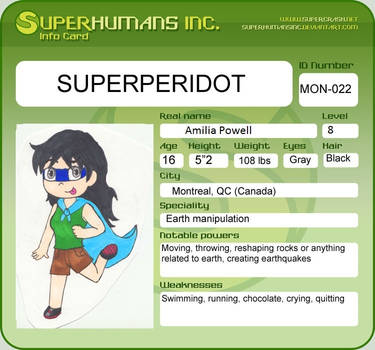 Superhumans Inc Info Card (Remake) by piperd22