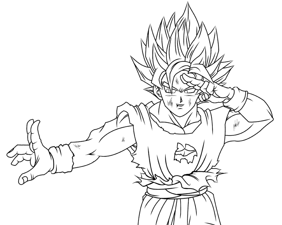 Another Goku SSJ Lineart By Eltantillo On DeviantArt