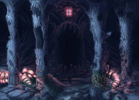 Screaming temple at night by Paperheadman