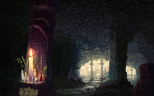 Cave altar by Paperheadman