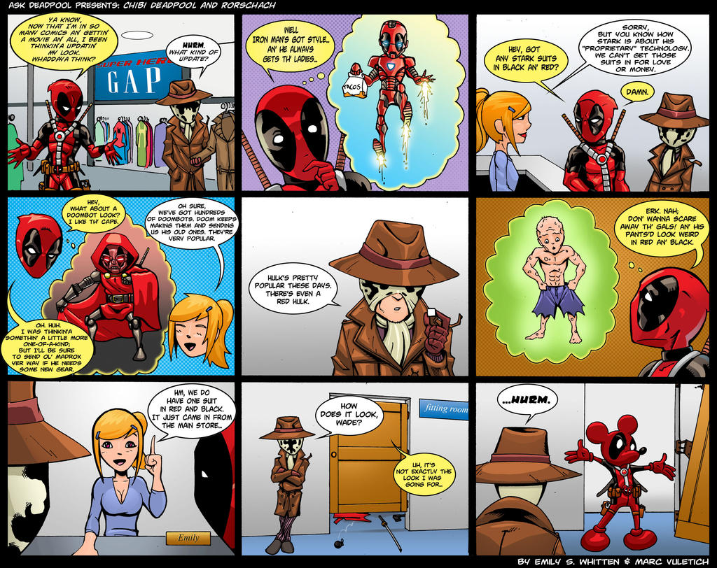 Chibi Deadpool and Rorschach by ScarletVulture
