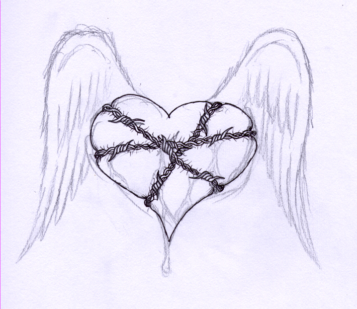 barbed wire heart drawing-#11