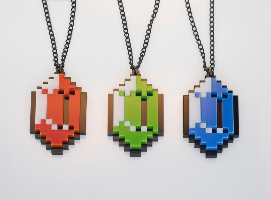 Legends Of Zelda Rupee pendants by Zamataj