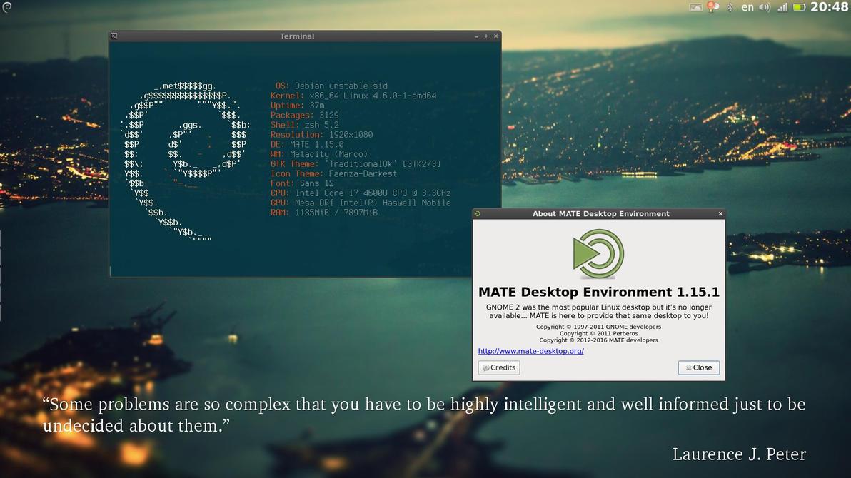 Debian testing + MATE Desktop 1.15 + zsh (zgen) by bobi1024