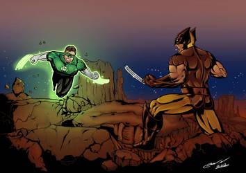 Wolverine vs Green Lantern by LTartist