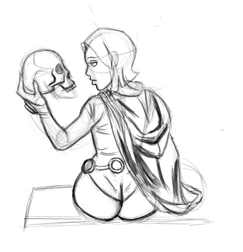 Raven sketch  by Dragonsmasher