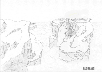 Islands above clouds sketch by GLDraws