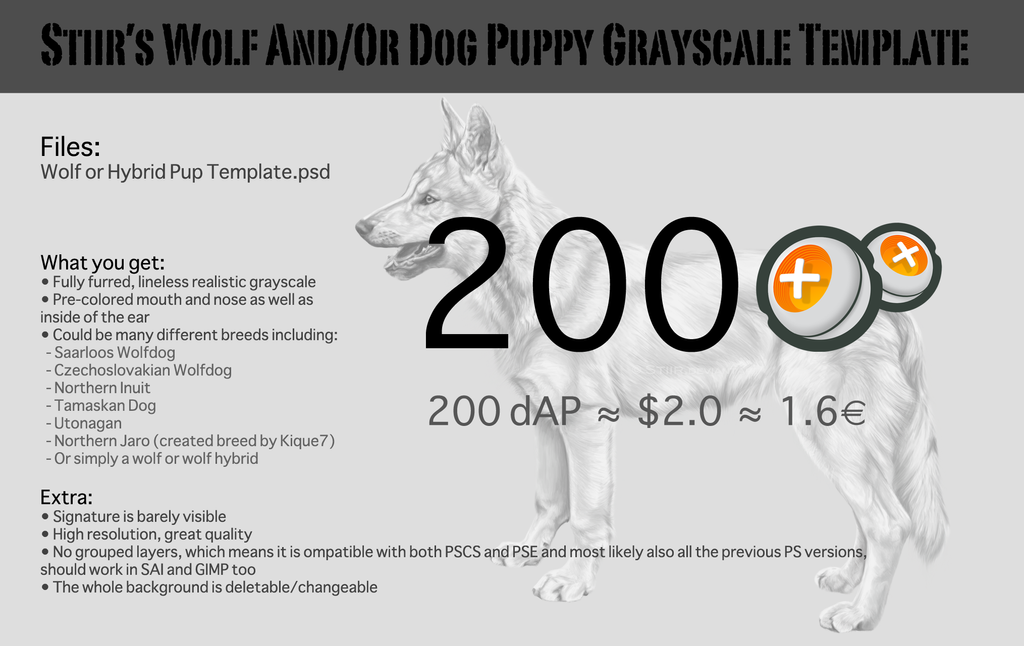 Stiir\'s Wolf And/Or Dog Puppy Grayscale Template by Stiir on DeviantArt