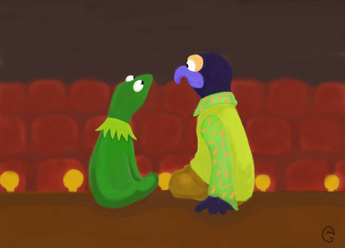 kermit and gonzo on  stage