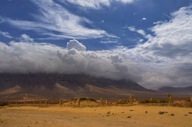 Mountain peak in clouds