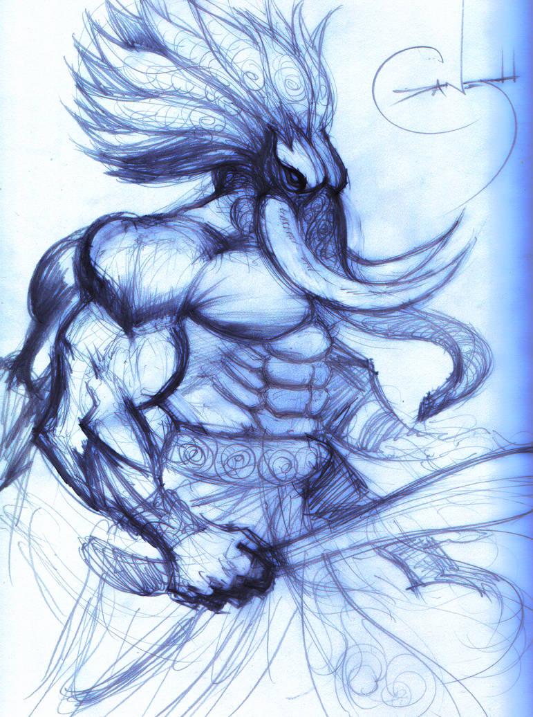 Ganesh sketch by adamantiel