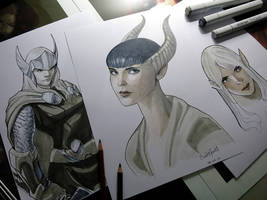 Copic and Colored Pencils Sketches by SulaMoon