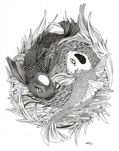 1506 yin yang koi fish by ginnungagaptd on deviantart for Yin and yang koi fish
