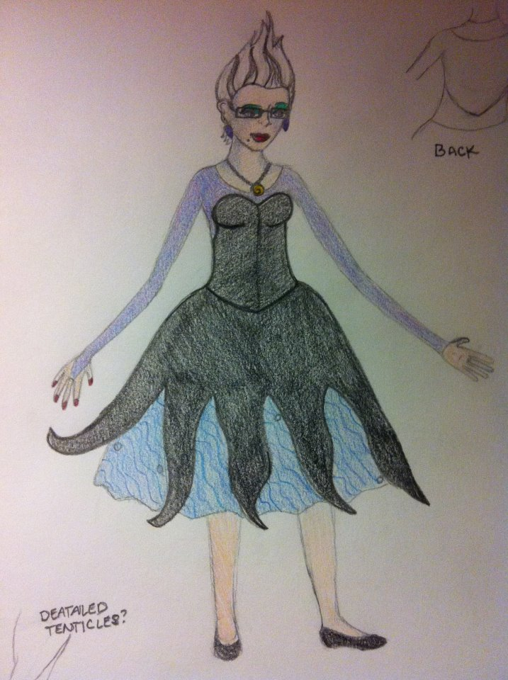 Ursula Costume Sketch Colored by QueenoftheLemurs