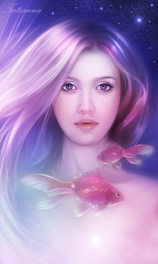 Girl and fairy-tale fishes by Ennya7