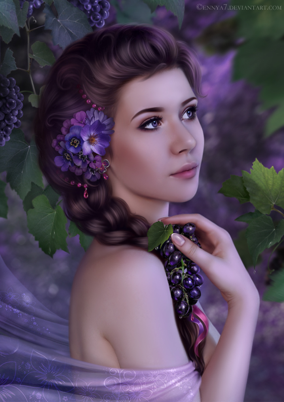 Girl with grapes by Ennya7